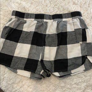 Black and White Plaid Pajama Shorts